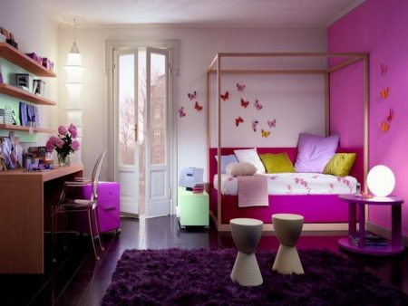 Contemporary-And-Natural-Pink-Interior-Of-Kids-Bedroom-Ideas-For-Girls-With-Lovely-Decor-And-Paint-Designs-Photos-Butterfly